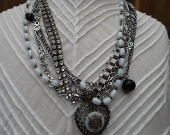 Beautiful Multi-Strand Necklace featuring a Large Antique Victorian Solid Silver Mother of Pearl Heart Pendant - NRU031
