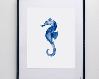 Seahorse Watercolor Print - watercolor painting, rustic, modern, SMc. Originals, original artwork, seahorse, nautical, nature, simple, decor