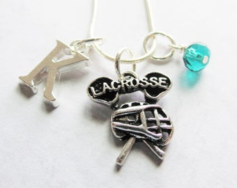 Lacrosse Necklace, Lacrosse Charm Necklace, Lacrosse Pendant, Birthstone, Initial Charm, Personalized, Team Gift, Lacrosse Birthday Gift
