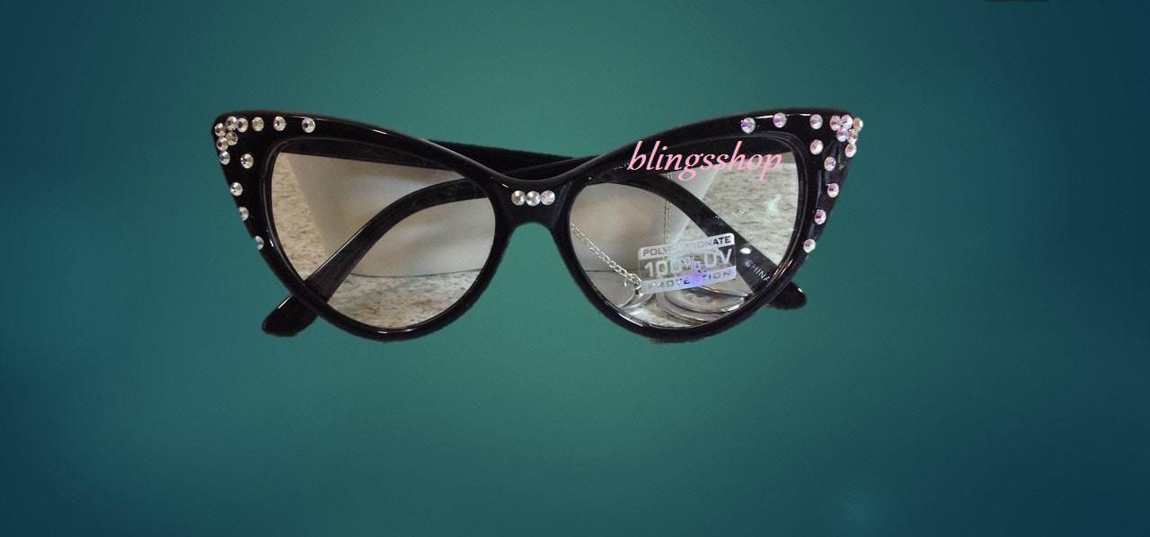 Cat Eye Eye Glasses With Swarovski Crystals-Reading Glasses