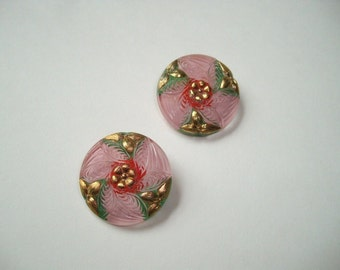 2 vintage hand painted Czech glass buttons, pink floral buttons, Czech cabochons, 28mm ornate glass buttons, gold leaf, 28mm cabochon