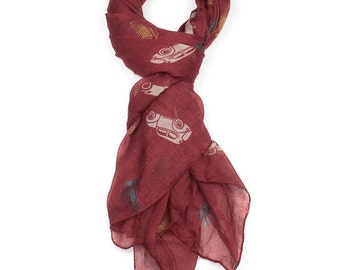 Red Classic Cars Print Scarf