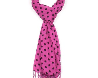 Pink Polka Dot Tassel Scarf