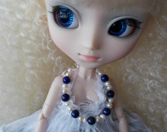 OOAK Lapis Pearl  Silver necklace for Pullip/Dal/Blythe 1/6 Dolls