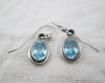 Vintage Sterling Silver Topaz Aquamarine Color Earrings