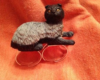 Fine Feline OOAK Plastic Black and Gray Cat Adjustable Ring