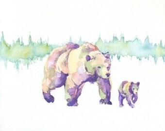 Bear Cub Watercolor PRINT- 8 x 10 Bears Watercolour, Animal Art