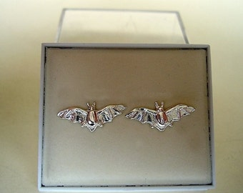 One Pair Of Sterling Silver Bat Stud Earrings