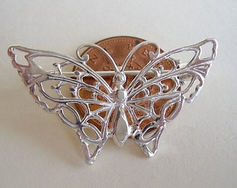 Sterling Silver Butterfly Brooch Pin