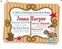 Cowboy Baby Shower Printable Invitation, Custom Cowboy Baby Invitation, Printable Western Baby Shower Invitation, Cute Baby Cowboy Shower v1