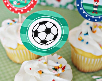Soccer Boys Printable Party Favor Tags, 2 IN Cupake Toppers, Boys Soccer Party Square Tags, Soccer Birthday Tags, Soccer Party Printable