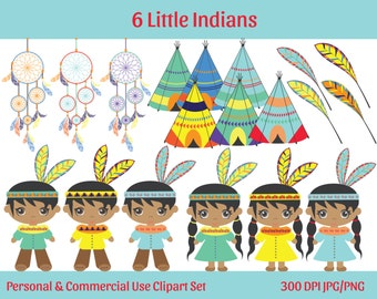 CUTE INDIANS & TEEPEES Clipart Commercial Use Ok Indians Teepees, Dreamcatchers, Feathers Clip Art Digital Graphics Instant Download Jpg/Png
