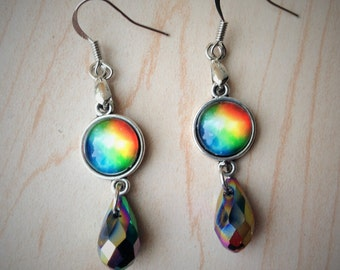 Rainbow Jeweled Earrings