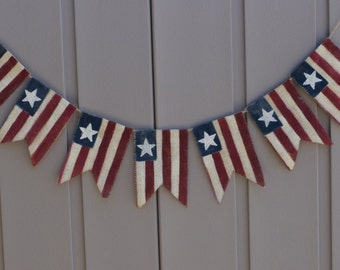 American Flag Banner, Patriotic Banner, Patriotic Bunting, 4th of July Banner, Patriotic Decor, Primitive Burlap Bunting Garland, Americana