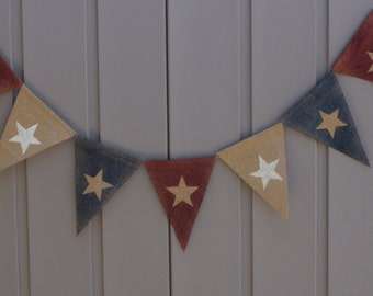 Star Banner, American Flag Banner, Patriotic Banner Bunting, 4th of July Banner, Patriotic Decor, Primitive Americana, Rustic Primitive