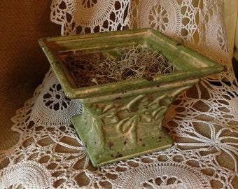 Shabby Chic Green Ceramic Planter