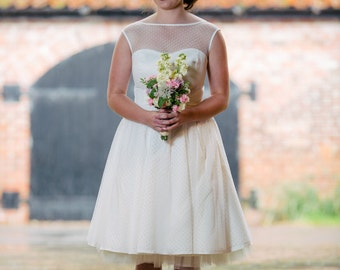 Polly Satin Tea Length Bridal Gown with Spot Tulle Overlay