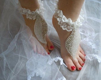 Rhinestones barefoot sandals, foot jewelry sandals, anklet,shoes,accessories,ivory lace