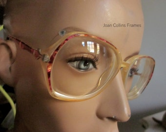 Actress Joan Collins Eyeglass Frames Mod Pink Purple with soft case