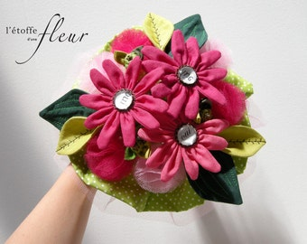 """Bridal bouquet """"gourmandises"""" flower fabric pink, green, peas, white and 'yes'"""