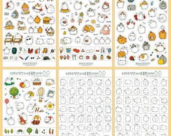 Kawaii Molang v2 Stickers, Molang v2 deco stickers, cute kawaii sticker, cute korean sticker, molang v2 sticker