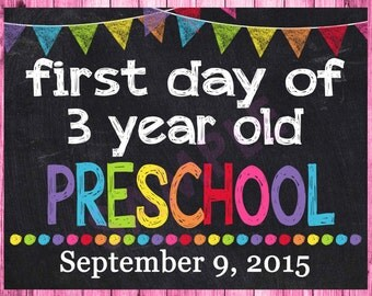 First Day of Preschool Sign, 1st First Day of School Sign, Personalized First Day of School Chalkboard Printable Sign, ANY SIZE or Grade