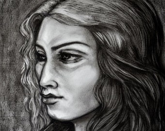 """Charcoal by Pamela Dawn Titled """"The Actress"""""""