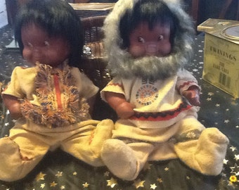 Vintage 1960's Eskimo dolls made by Regal