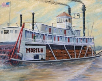 """Original Oil Painting of Paddle Wheel Steamer """"Mobile"""" steaming on the river."""