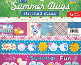 DCWV The Summer Days Stitched Stack 18 Sheets of 12 x 12 Scrapbook Printed Cardstock