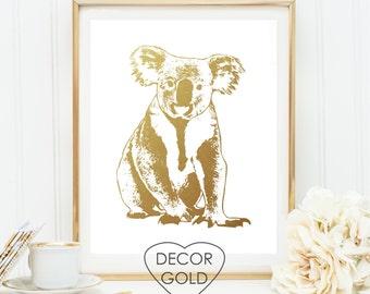 koala Gold foil print art - gold foil, gold office decor, gold home decor, nursery art print - wall art, koala australia animal print