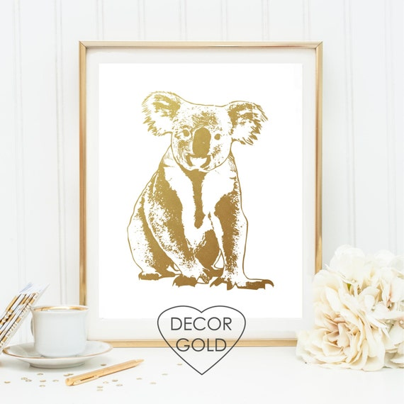 Items similar to koala gold foil print art gold foil gold office decor gold home decor Home decor wall decor australia
