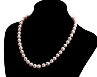 Milanda Classic Cultured Pearl Necklace 8-9mm Round Natural Pink