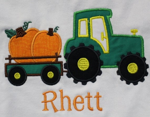 Tractor Pulled Wagon : Personalized tractor pulling wagon with pumpkins t shirt