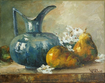 Original Oil Painting - Blue Pitcher with Pears and Blossoms Palette knife painting