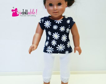 American made Girl Doll Clothes, 18 inch Girl Doll Clothing, Navy Blue Daisy Knit Top and White Knit Capris