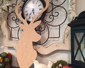 "Deer Head Silhouette - Deer Head Wall Hanging - Deer Head Unfinished Cut Out - 1/4"" MDF"