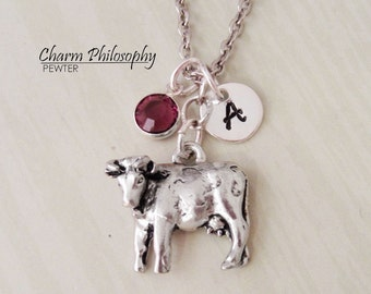 Cow Charm Necklace - Personalized Initial and Birthstone - Antique Silver Pewter Jewelry
