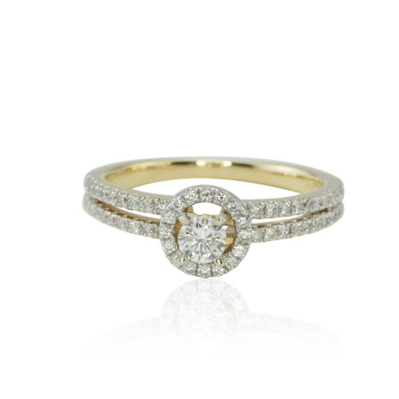 Halo Engagement Ring 50% off Dainty Round cut Diamond Ring