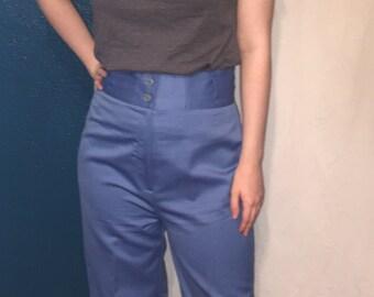 Vintage Golden Rose Blue High waisted womens Slacks Pants 1970's Japan