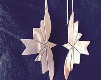 Birds in flight, sterling silver earrings on a hook