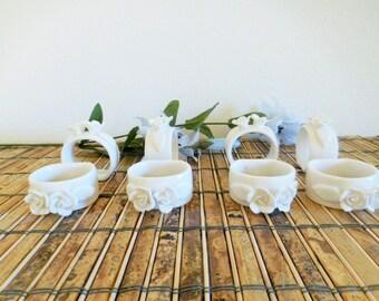 Eight Floral White Ceramic Napkin Holders