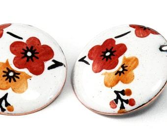 glazed with Japanese flower earrings