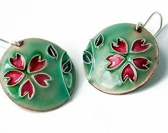 Earrings enameled with cherry blossoms