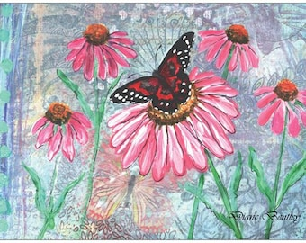 Butterfly and Cone Flowers