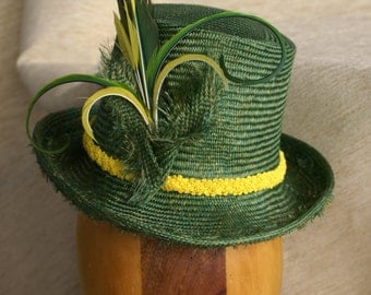 Parisisal Straw Top hat Topper, Green straw with parrot feather trim,  3/4 size
