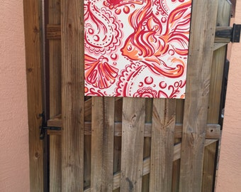 Red and orange fish hand painted canvas