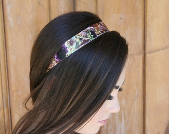 Sunflower Camo Headband Purple Accented 1 Inch Non-Slip