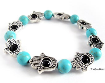 Silver Hamsa Hand Bracelet, Howlite Bracelet, Turquoise Bracelet, Women's Bracelet, Women's Jewelry, Hand of Fatima, Hamsa Hand, Silver