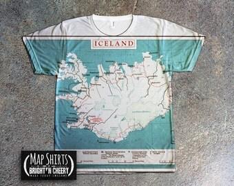 Iceland TShirt Vintage CIA Map, all over print shirt, reykjavik shirt, Travel t shirt, world map shirt, travel gifts unique shirt, icelandic
